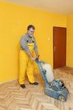 家庭整修,木条地板铺沙 免版税库存照片
