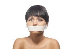 家庭暴力概念:深色的妇女画象  库存照片