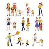 家庭活动和休闲 与父母和孩子的家庭集合五颜六色的字符导航例证 向量例证