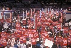 家庭1992年民主党全国代表大会的在麦迪逊广场加登,纽约医疗保健提倡者 库存照片