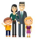 年轻家庭-父亲、母亲、儿子和女儿 库存照片