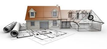 家庭建筑学项目完成 库存照片