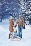年轻家庭画象在冬天公园 免版税库存图片