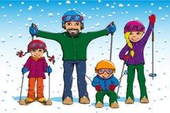 家庭滑雪在冬天 免版税库存照片
