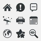 家庭主页和地球标志 打印机,闲谈 库存图片