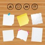 家庭主页和地球标志 打印机,闲谈 免版税图库摄影