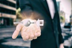 家庭keychain大角度看法的综合图象与银色钥匙的 库存图片