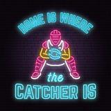 家是俘获器的地方 也corel凹道例证向量 霓虹棒球标志 向量例证