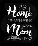 家是您的妈妈是印刷术在黑板背景的地方字法海报 库存图片