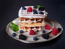 家板材做了与冰打扫灰尘、新鲜的莓果和薄荷叶的比利时华夫饼干 库存照片