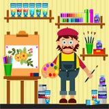 画家用不同的工具的工作室 免版税库存图片