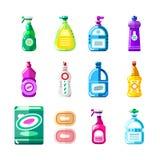 家用化工产品、清洁剂和洗涤剂 导航多色瓶,容器的例证,包装 库存例证