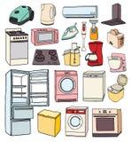 家用电器手拉的集合 乱画家用电器的传染媒介例证 库存例证