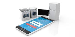 家电被设置的和在白色背景隔绝的手机 3d例证 库存图片