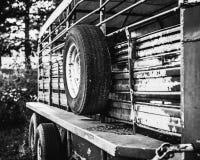 家畜拖车和它的备用轮胎 图库摄影