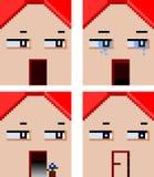 家的四张面孔有情感表示的 库存图片