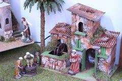 家的诞生圣诞装饰 圣诞节商店 免版税库存图片