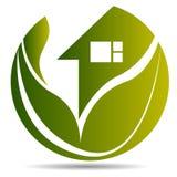 家,房子,房地产,商标,圈子大厦,建筑学,蓝色家庭植物自然标志象设计传染媒介 皇族释放例证