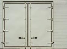 容器卡车的白色边门 库存照片