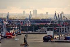 容器口岸在鹿特丹 免版税库存照片