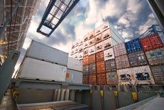 容器在口岸的货物操作 库存照片