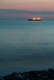 容器格但斯克波兰端口船 美好的晚上海景 免版税库存图片