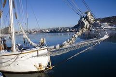 容器港口奥斯陆风船 库存照片