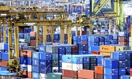 容器港口新加坡 免版税图库摄影