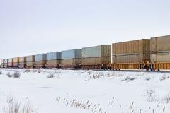 容器火车在大草原冬天 免版税库存图片