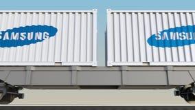 容器的铁路运输有三星商标的 回报4K夹子的社论3D 皇族释放例证