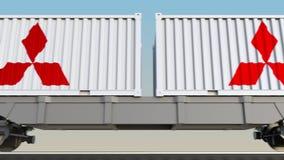 容器的铁路运输有三菱商标的 回报4K夹子的社论3D 皇族释放例证