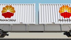 容器的铁路运输有中国石油天然气股份有限公司商标的 回报4K夹子的社论3D 向量例证