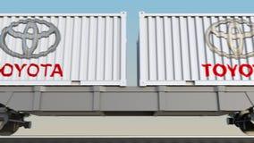 容器的铁路运输有丰田商标的 回报4K夹子的社论3D 皇族释放例证