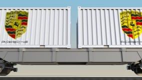 容器的铁路运输有保时捷商标的 回报4K夹子的社论3D 库存例证