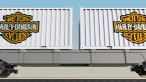 容器的铁路运输有哈利戴维森的,公司 徽标 回报4K夹子的社论3D 影视素材