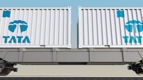容器的铁路运输有塔塔集团商标的 回报4K夹子的社论3D 向量例证