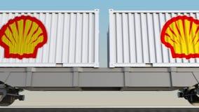 容器的铁路运输有壳牌石油公司商标的 回报4K夹子的社论3D 皇族释放例证