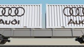 容器的铁路运输有奥迪商标的 回报4K夹子的社论3D 皇族释放例证