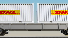 容器的铁路运输有敦豪航空货运公司明确商标的 回报4K夹子的社论3D 库存例证