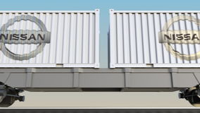 容器的铁路运输有日产商标的 回报4K夹子的社论3D 库存例证