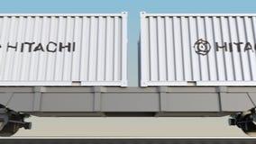 容器的铁路运输有日立商标的 回报4K夹子的社论3D 库存例证