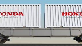 容器的铁路运输有本田商标的 回报4K夹子的社论3D 库存例证