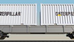 容器的铁路运输有毛虫的公司 徽标 回报4K夹子的社论3D 库存例证