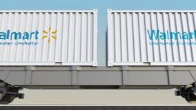 容器的铁路运输有沃尔码商标的 回报4K夹子的社论3D 皇族释放例证