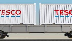 容器的铁路运输有特易购商标的 回报4K夹子的社论3D 库存例证