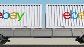容器的铁路运输有电子港湾的公司 徽标 回报4K夹子的社论3D 皇族释放例证