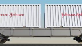 容器的铁路运输有约翰逊` s商标的 回报4K夹子的社论3D 向量例证
