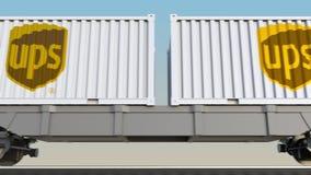 容器的铁路运输有联合包裹服务公司UPS商标的 回报4K夹子的社论3D 皇族释放例证