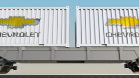 容器的铁路运输有薛佛列商标的 回报4K夹子的社论3D 库存例证