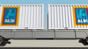容器的铁路运输有阿尔迪商标的 回报4K夹子的社论3D 皇族释放例证